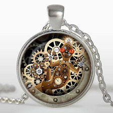 steampunk lizard Necklace, gecko glass pendant Mechanical clock round glass dome