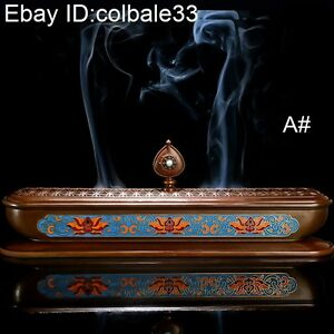 "30cm 12"" Copper Enamel incense burner long censer Home temple shrine worship A#"