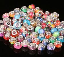 100pcs mix HOT murano DIY Jewelry bead LAMPWORK fit European Charm Bracelet