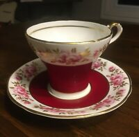 Aynsley Corset shape Cup and Saucer Burgundy Red Pink Roses Hand Painted Lovely