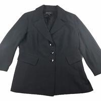 St John Black Label Silk Blend 3 Button Blazer Womens Size 16