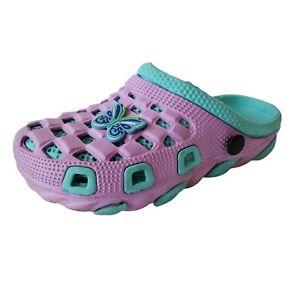 Crocs Girls Clog Shoes Size 1.5 Purple Teal Comfort Slip On Round Toe