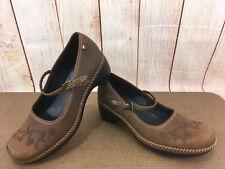 ECCO Mary Jane Floral Brown Sz 9 (40 EU) Women Wedge Heels P44(7)