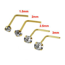 Nose Stud 9K Carat Genuine Gold With 2.5mm Gem Piercing Stud Pin L Shape 22g