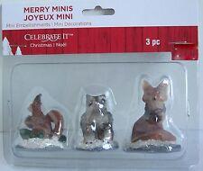 Celebrate it Item# 431912 Christmas Merry Minis Set 3 Figurine Squirrel Owls Fox