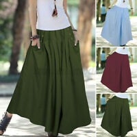 UK Women Cotton Skirts Elastic Waist Pockets Solid Ankle Length Dress Plus Size