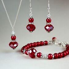 Red pearls crystals necklace bracelet earrings wedding bridal bridesmaid set