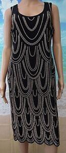 Ladies Kaleidoscope Black Jersey Shift Dress with Gold Studs- UK Size 14- NEW