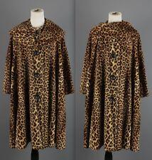 Vtg 1960s Women's Leopard Faux Fur Swing Coat Tent Trapeze 60s #1241 Sz M