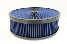 "14"" X 4"" Round Blue High Flow Thru Washable Air Cleaner Drop Base Lid SBC 350"