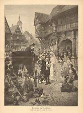 Wedding, Bride, The Uncle As The Bridegroom, Vintage 1893 German Antique Print
