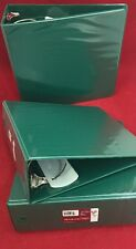 "12 SKILLCRAFT 3"" 3 Round Ring Binders Green w/Pockets And Clear Overlay"