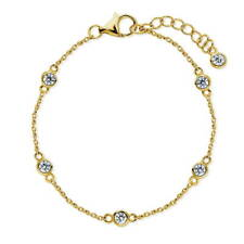 BERRICLE Gold Flashed by Yard Fashion Anklet Made with Swarovski Zirconia