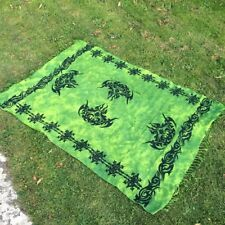 Green wall hanging, hippie, tribal design, tapestry, tie dye, throw, psychedelic