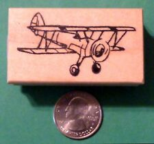 Bi-Plane, wood mounted rubber stamp