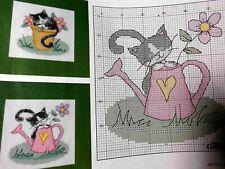 Stickvorlage,Point de Croix,Lucie Heaton,4 Motive,Kätzchen,Sommer,Blumen,Garten
