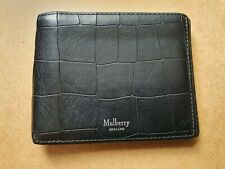 Authentic MULBERRY Black Croc Print Leather Bifold Wallet Authenticate4U