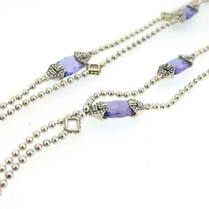 """LAGOS Sterling Silver & 18k Gold Caviar Color Amethyst Station Necklace 34"""""""
