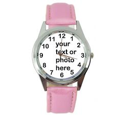 YOUR CUSTOM TEXT PHOTO WATCH Quartz Stainless Steel PINK LEATHER ROUND WATCH