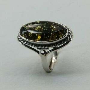 Size 7 Green BALTIC AMBER Ring 925 STERLING SILVER Poland #3689
