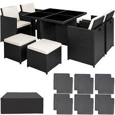 Ensemble Salon de jardin ALU résine tressée poly rotin chaise table set noir
