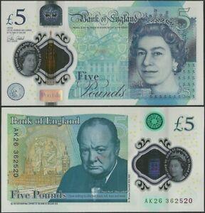 Great Britain/England P394 5 Pounds 2015 Polymer/Churchill /QEII AK Prefix