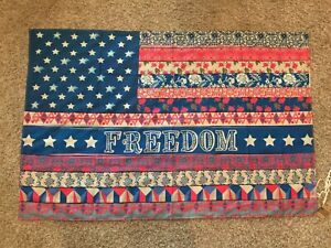 Natural Life Tapestry, NWT, American Flag, Freedom, Blue & Pink, floral, pattern