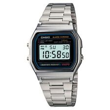 CASIO A158W-1 Unisex Classic Silver Digital Chronograph Sport Watch WR 30M NEW
