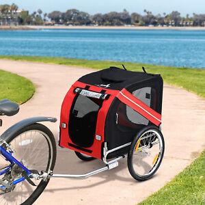 Dog Bicycle Trailer Jogger Stroller Pet Bike Steel Frame w/ Folding