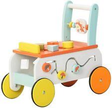 labebe - Baby Walker, Push Along Wooden Toy, Pull Along Wagon 2-in-1 Baby Walker