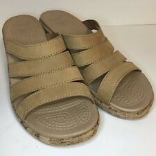 Crocs A-Leigh Wedge Sandals 10 Tan Brown Faux Leather Cork Wrap Strappy Slip On