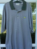 Masters Augusta National Golf Shop Mens Cotton Green White Striped Polo Shirt XL