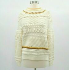 Chloe Sweater Pullover Womens Chunky Knit M Medium Wool Ivory Off White Yellow