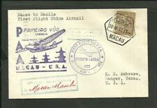 Macao To Manila, 1St Flight, Pan American Cancel Cover, 1937, Vf
