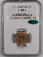 1864 TWO CENT PIECE - LARGE MOTTO NGC MS-65 RB, CAC APPROVED & PREMIUM QUALITY!