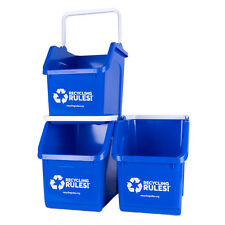 Stackable Blue Recycling Bin Container 6 Gallon Multi-Recycler - 3 Pack of Bins