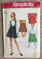 Vintage '60s Simplicity Child's A Line Skirt Jumper Cut Sewing Pattern 8306