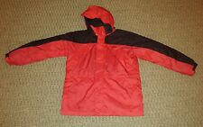L.L. Bean boys hooded winter jacket parka red with black trim size L 14-16