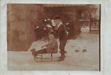 Photo Children with Sled Winter 1914 Saxony