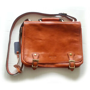 Persaman New York Men Messenger Bag Leather Brown Shoulder Crossbody Handmade