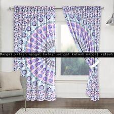 Indian Peacock Mandala Window Curtain Cotton Balcony Room Door Valances Drapes
