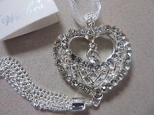 Diamante Heart  Mesh 3D SilverTassell Wedding Good Luck Charm Horseshoe Bridal