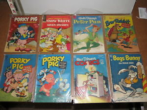 PORKY PIG, BUGS BUNNY, Disney & others comic book lot of 8, mostly Dell 1950's