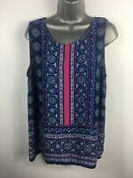 WOMENS CYNTHIA ROWLEY BLUE PINK PATTERNED VEST TOP SLEEVELESS BLOUSE CASUAL  XL