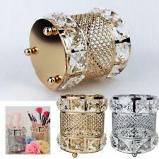 Metal Crystal Makeup Brush Holder Storage Tube Eyebrow Cosmetic Pens Organizer O
