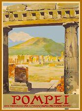 Pompei Mt. Vesuvius  Italy Vintage Italian Travel Advertisement Art Poster Print