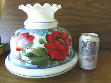 """Milk Glass Shade-Hand Painted w/Large Red Flowers,Blue Flowers &Gold """"Cattails"""""""