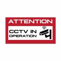 Attention Cctv In Operation Red Warning Sign Camera Security Car Sticker Decal