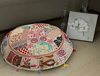 "18"" Indian Vintage Round Floor Patchwork Pillow Cushion Cover Cotton Handmade"