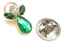 Message Angel Birthstone Emerald Crystal Pin Badge